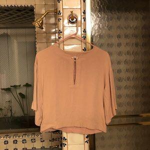 Zara   Pink Pearl Oversized Crop Top